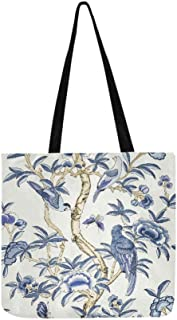 Giselle Blue And White T Collection Imperi Canvas Tote Handbag Shoulder Bag Crossbody Bags Purses For Men And Women Shopping Tote