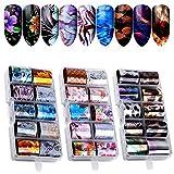 Kalolary Nail Art Foil, 30 coloresHolográfico Nail Stickers Tips Wraps Foil Transfer Sticker Glitters Kit de decoración para manicura Acrílico DIY Decoración (3 Caja / 30pcs)