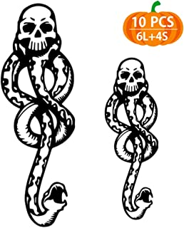 Temporary Tattoos 10pcs, Death Eater Dark Mark Tattoos for Kids, Halloween Tattoos for Kids, Women, Men, Dark Mark Tattoos for Harry Potter Costume Accessories and Parties (Death Eater Tattoo)