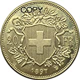 Wjtence Swiss 20 Franc Gold 1897 B Brass Replica Copy Coin for Copy Ornaments Collection Gifts