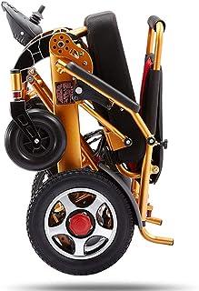 MJY Silla de ruedas eléctrica plegable, silla de ruedas ligera Scooter eléctrico todo terreno Silla de motor dual Motor 12A Batería de litio 15Km Aleación de aluminio para todas las