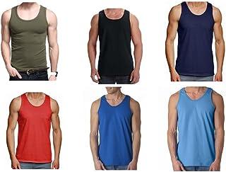 e006ad184d 6x Pack hombre camiseta 100% Algodón Camiseta De Tirantes Gimnasio Suéter  Pack LISO DE COLORES