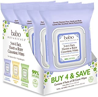 Babo Botanicals Calming 3-in-1 Face, Hand & Body Wipes with French Lavender and Organic Meadowsweet, For Babies, Kids or S...