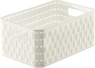 Rotho Country Boîte de Rangement 4L en Rotin, Plastique (PP) sans BPA, Blanc, A6+/4L (23,7 X 15,8 X 10,8 cm)