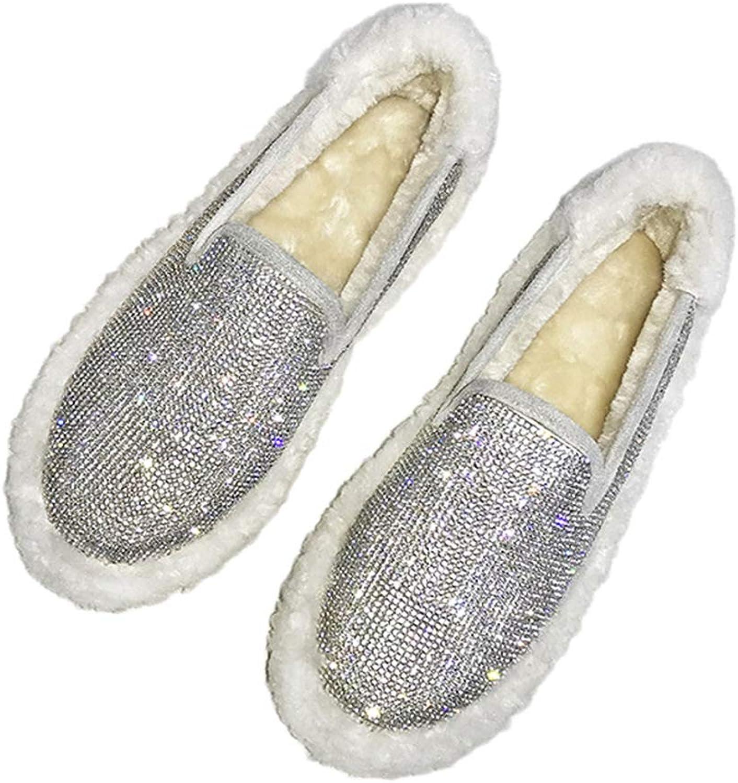 T-JULY Fashion Women Winter Warm Flat Loafers Fluffy Plush Rhinestone Slip on shoes