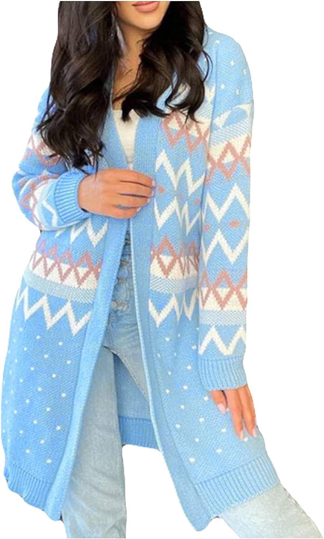 FORUU Cardigan Sweaters for Women 2021 Fall Winter Fashion Open Front Cardigans Striped Printed Pocket Cardigan Jacket