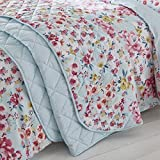 Catherine Lansfield Flower Patchwork Tagesdecke 220x230 cm Duck Egg