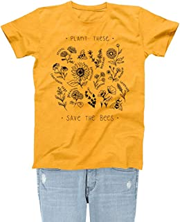 Plant These Womens Graphic Tee Save The Bees Theme Girls Cute Garden Gold Yellow T-Shirts