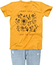 Rocksir Plant These Womens Graphic Tee Save The Bees Theme Girls Cute Garden Gold Yellow T-Shirts