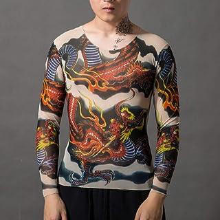 MK988 Mens Long Sleeve Print Stretch Slim Clubwear Tattoo T-Shirt Tee Tops
