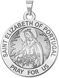 Saint Elizabeth of Portugal Round Religious Medal - 3/4 Inch Size of a Nickel -Solid 14K White Gold
