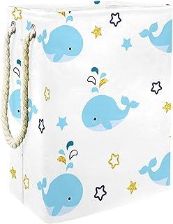 Vockgeng Baleine Bleue Etoiles Sac de Rangement Panier de Rangement imperméable Pliable de Jouets de Jouets de Panier avec...