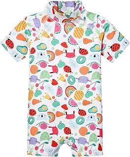Girls One Piece Swimming Suit 50+UV Sun Protection Short Sleeve Swimwear Bodysuit Beachwear with Zipper Wetsuit for Surfin...