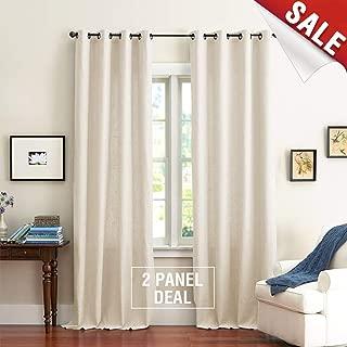 jinchan Beige Pure Cotton Curtains for Bedroom Solid Cotton Curtains 63 inches Long Window Curtain Panels for Living Room Grommet Top 2 Panels