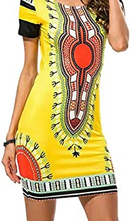 Hot Women Summer Traditional African Print Dashiki Bodycon Short Sleeve Dress
