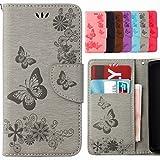 Yiizy Handyhülle für Samsung Galaxy S5 Mini G800F Hülle, Schmetterling Blume Entwurf PU...