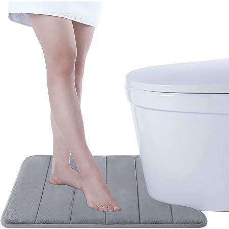 Tapis de piédestal de Toilette Mousse à mémoire de Forme Tapis de Sol antidérapant en Forme de U pour Toilette, 50 x 60 cm, Gris Argenté