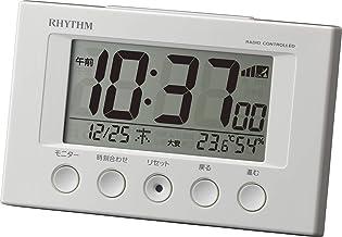 リズム(RHYTHM) 目覚まし時計 電波時計 温度計・湿度計付き フィットウェーブスマート 白 77×120×54mm 8RZ166SR03