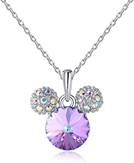 HERAYLI Mickey Mouse Pendant Necklace for Girls/Women,Made with Swarovski Crystal Lovely Women Necklace Jewelry Gift