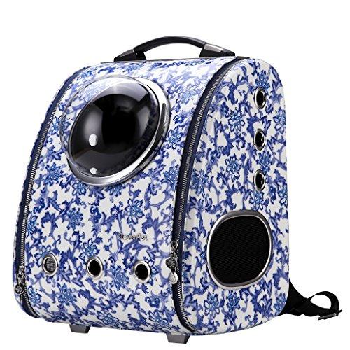 Cloverpet Reise-Rucksack für Katzen, Hunde, Welpen, Weiß/Blau