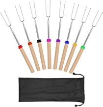 Coindivi Marshmallow Roasting Sticks, 32 Inch Extendable Roasting Sticks, Campfire Smores Skewers Sticks for Fire Pit, Telescoping Forks of BBQ Camping Campfire Accessories