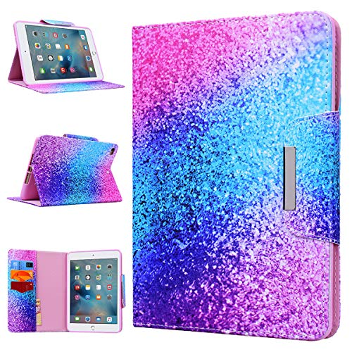 iPad Mini Case WE LOVE CASE Leather Cover iPad Mini 4 Case Cute Pretty Case Pattern Stand Folio Foldable Protective Shockproof Bumper Anti Shock Apple iPad Mini 1 2 3 4 Case Rainbow