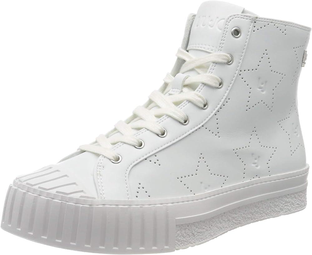 Liu jo jeans nettie 02mid, sneakers white, scarpe da ginnastica per donna,in  pelle ecologica BA0057EX03901111
