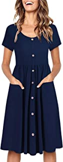 OUGES Women's Long Sleeve Loose Casual T-Shirt Dress