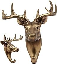 Ebros Bronzed 10 Point Buck Deer Bust Wall Hook Hanger Hunter's Game Trophy Taxidermy Wall Mount Sculpture Plaque Figurine 8.75