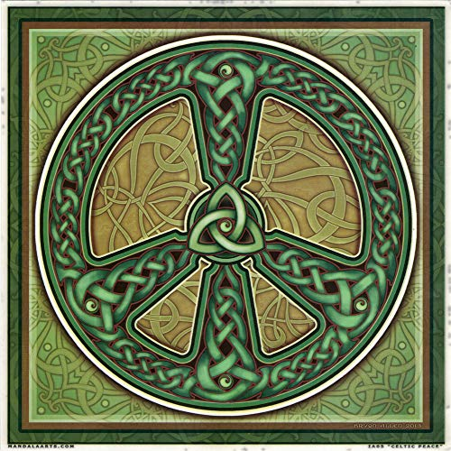 Mandala Arts Celtic Peace Sign Glass Door & Window Repositionable Removable Static Cling Sticker Decal