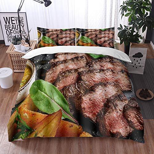 Qinniii 3 Teilig Bettgarnitur Bettwäsche,Saftiges Rumpsteak von Marble Beef Medium Rare mit Kartoffeln und Sauce auf Steinplatte Cl,Gemütlich 3D Mikrofaser Bettbezug Set + 2 Kissenbezug 135 x 200 cm