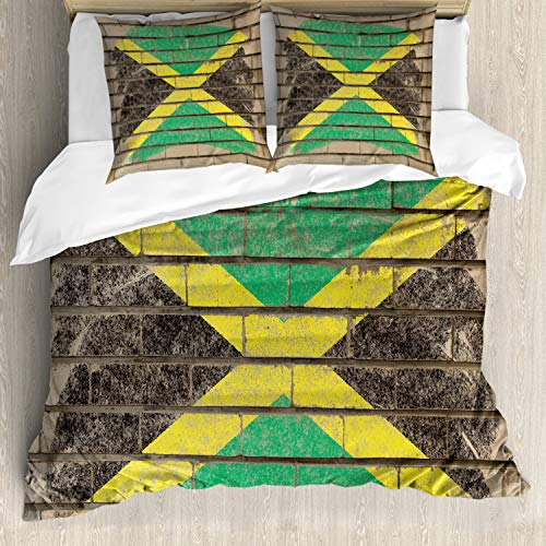 ABAKUHAUS jamaicano Funda Nórdica, Bandera en la Pared de la Tiza, Estampado Lavable, 3 Piezas con...
