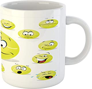 Lunarable Sports Mug, Tennis Ball Cartoon Characters Cheerful Silly Funny Surprised Confused, Ceramic Coffee Mug Cup for Water Tea Drinks, 11 oz, Yellow White