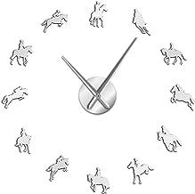 Tanng Frameless Equestrian 3D DIY Wall Clock Modern Sports Horse Race Acrylic Mirror Surface Clock Watch Horse Riding Creative Show,Silver,47inch