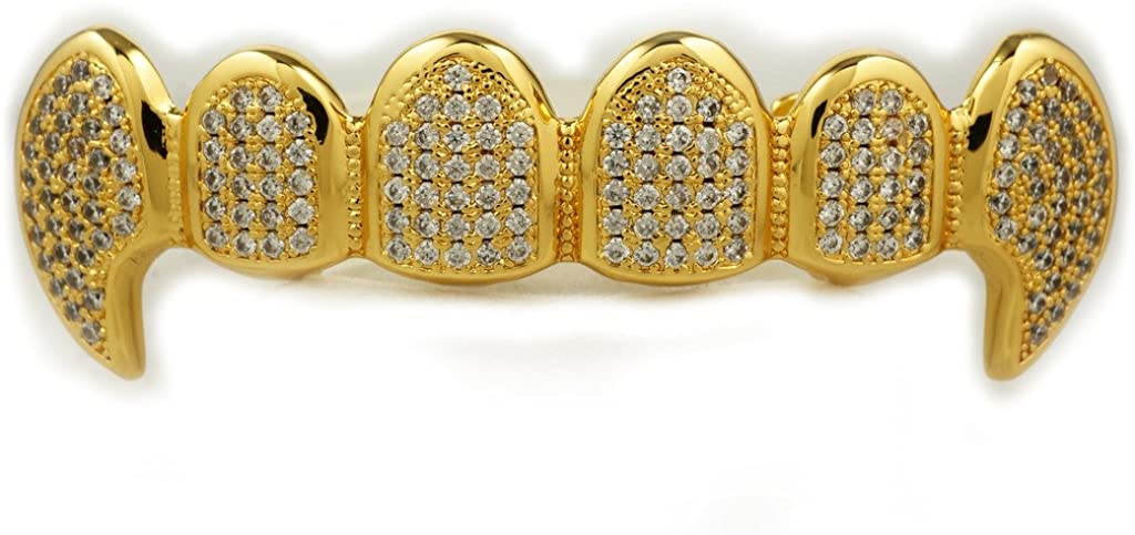 Niv's Bling 18K Gold Plated CZ Vampire Dracula Fangs Top Bottom Grillz (Top Only)