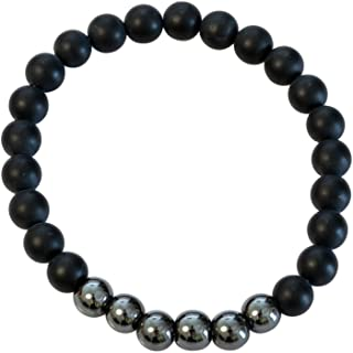 Divine Magic Chakra Balancing Hematite Natural Gemstone Beads 8mm and Black Obsidian Real Crystal Bracelet Healing Stones ...