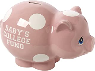 Precious Moments, Baby's College Fund, Pink Ceramic Piggy Bank, Girl, 164009