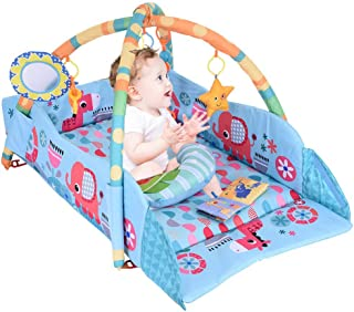 Play Mat Activity Gym for Baby, Baby Gym Jungle Musical Play Mats with Hanging Toys, Lay to Sit-Up Play Mat Activity Center for Infants and Toddlers Aged 0 to 6 12 Months Old (E)