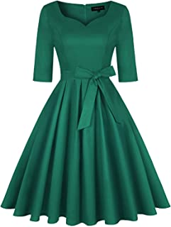 Women's 1950s Vintage Rockabilly Retro Dresses Sweetheart Neck Belt Party Cocktail Swing Dress with Belt and Pockets