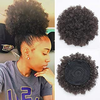 BEIRA Synthetic Afro Puff Drawstring Ponytail Short Kinky Curly Hair Bun Extension Donut Chignon Hairpieces Wig Updo Hair Extensions with Two Clips (2#)