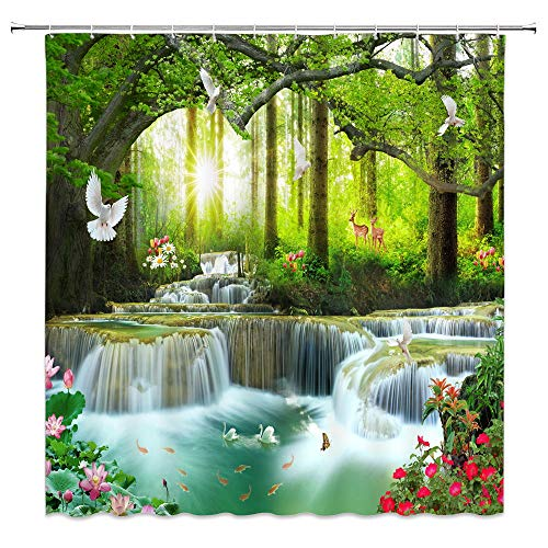 """XZMAN Forest Waterfall Shower Curtain Nature Rainforest Tree Wild Animals Deer Birds Flower Butterfly Sunrise Summer Scenery Bathroom Decor Quick Drying Polyester Fabric Set with Hooks,(70"""" WX70 H)"""