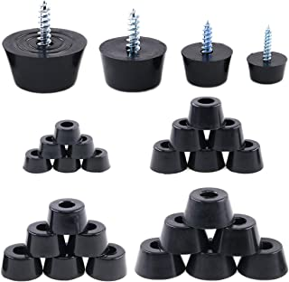Hilitchi 40-Pcs [4-Size] Round Black Rubber Feet Bumpers Pads with Matching Screws with Built in Stainless Steel Washer for Cutting Board Amps Cabinet Desk Tables Couches