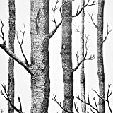 Wenmer Birch Tree Wallpaper 17.71' x 394' Black Trunk Wallpaper Peel and Stick Wallpaper Self Adhesive Waterproof Removable Wood Wallpaper Decor Bedroom Living Room Shelf