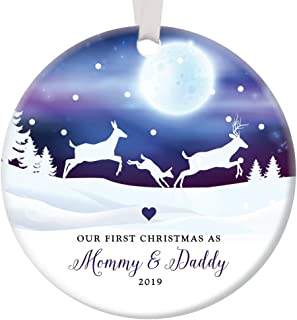 First Christmas Mommy & Daddy 2019 Ornament 1st Holiday New Parents Newborn Child Infant Boy Girl Pretty Winter Scene Baby Shower Keepsake Present 3