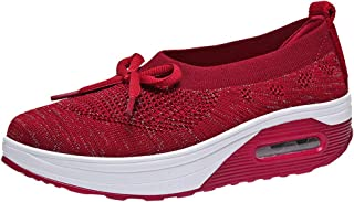 Respctful✿Slip On Wedge Sneakers for Women Breathable Comfortable Platform Wedge Loafers Shoes
