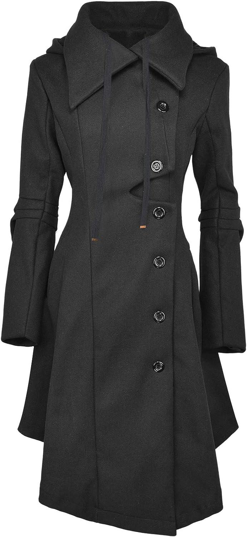 QZUnique Pea Coat Women's Long Fleece Pea Jacket Gothic Trench Coat Winter Punk Collar Peacoat Outwear Slim Hood Dress Coat