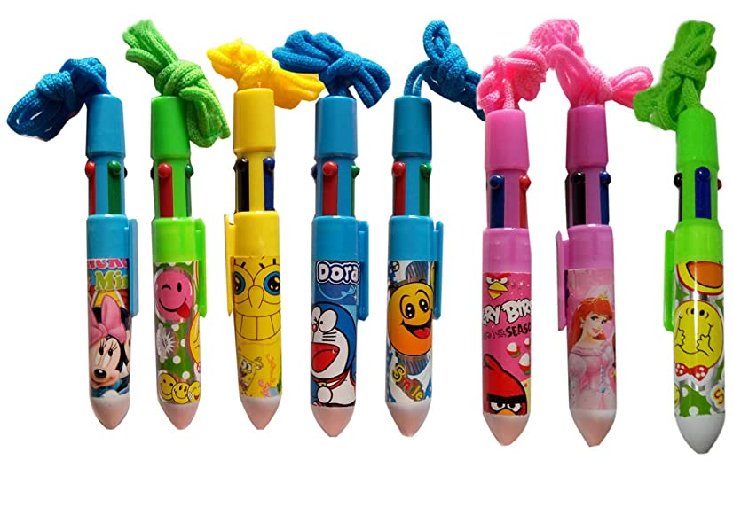8 pack fat pen multicolor pen 4 color ink in one lanyard pen cute ballpoint pen with cartoon for smooth writing drawing