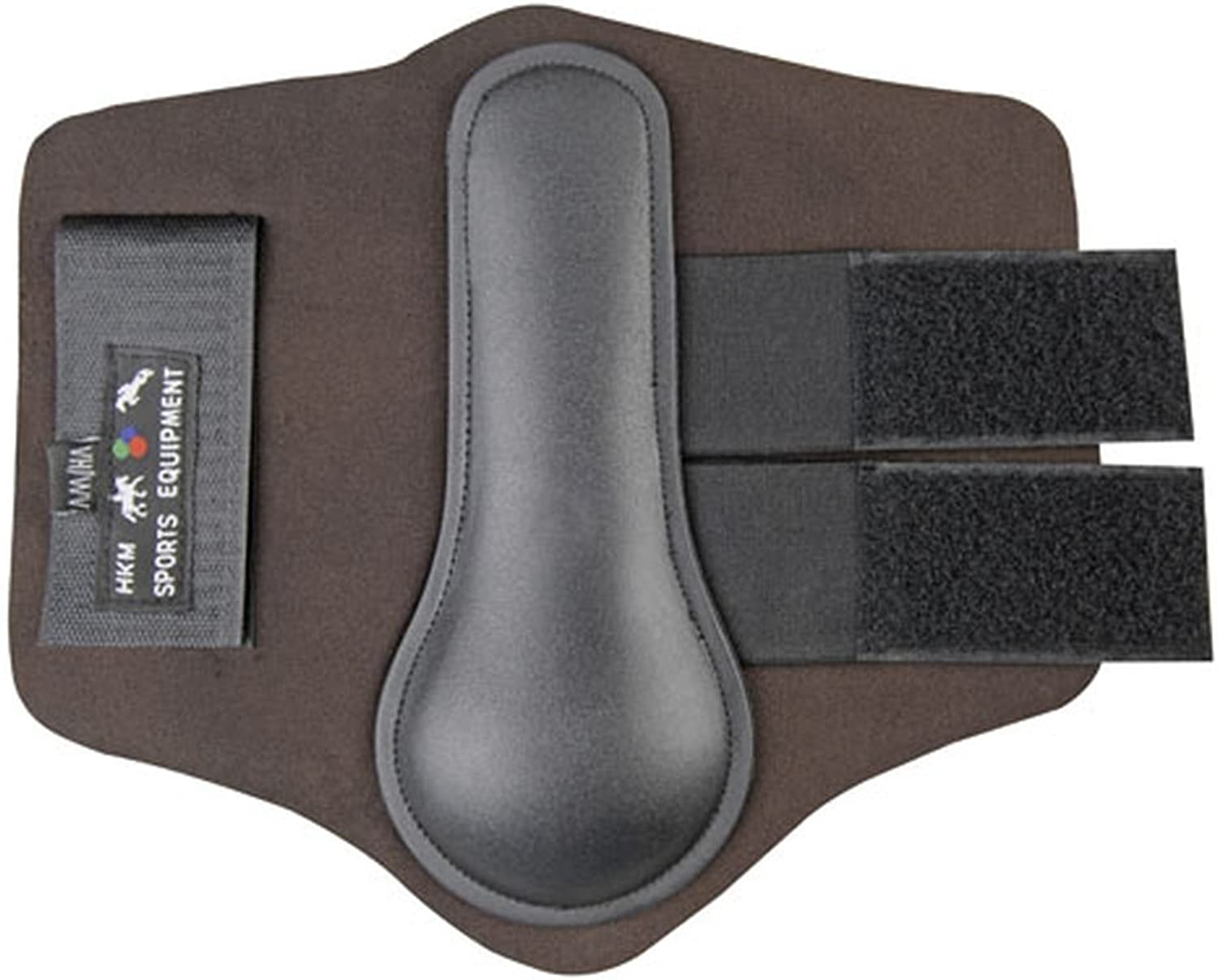 HKM Neoprene Padded Brushing Boots Velcro Straps (Brown, Pony Hind Cob Front)