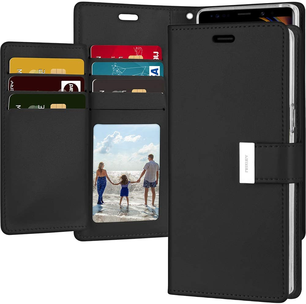 Goospery Rich Wallet for Samsung Galaxy Note 9 Case (2018) Extra Card Slots Leather Flip Cover (Black) NT9-RIC-BLK