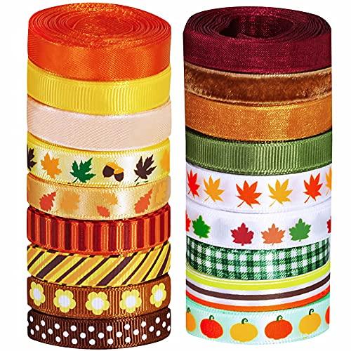 "Supla 18 Rolls Fall Ribbons Bulk Trims Printed Multicolor Satin Ribbons 3/8"" Wide"
